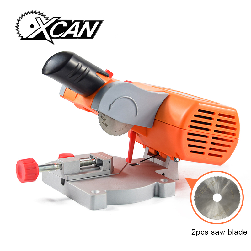 XCAN Multifuncation mini table saw Bench Cut-off Saw Steel Blade for cutting Metal Wood Plastic with Adjust Miter Gauge