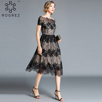 ROGREZ New Women Dress Vintage Elegant Long Dress For Women A Line Princess Black Dress Short Sleeve Dinner Lace Dresses