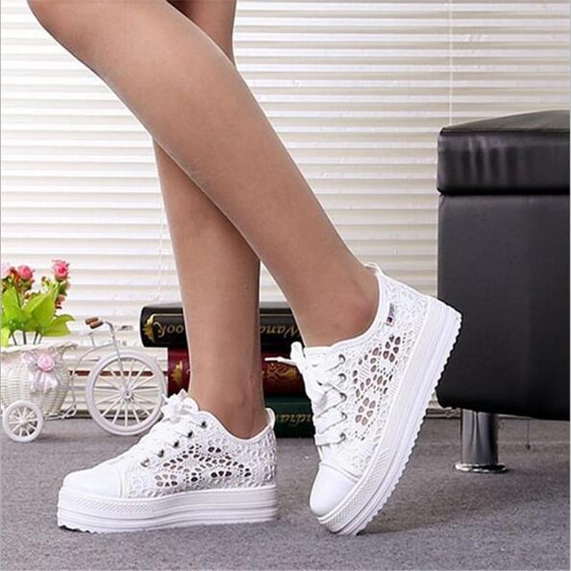 Women Shoes fashion summer casual Ladies Shoes cutouts lace canvas hollow breathable platform flat Shoes woman sneakers
