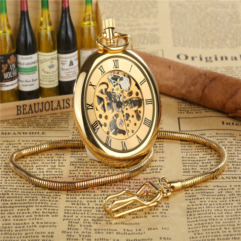 Luxury Golden Mechanical Hand Wind Pocket Watch Retro Roman Dial Hollow Skeleton Watch With FOB Necklace Chain Quartz Mens Watch цена