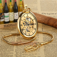 Luxury Golden Mechanical Hand Wind Pocket Watch Retro Roman Dial Hollow Skeleton Watch With FOB Necklace Chain Quartz Mens Watch