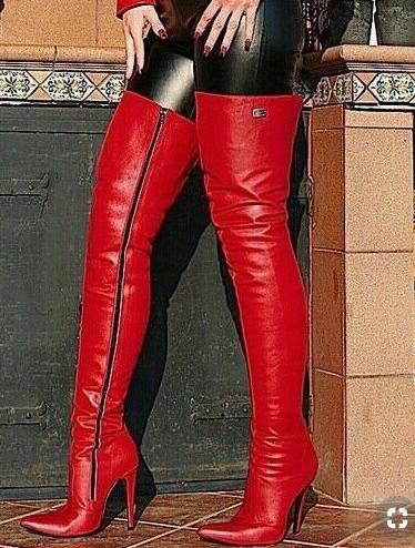Rojo Tacones Pu De Dedo Caliente Cremallera Red la Botas Con Sexy Baile Gran Puntiagudo Mujer Zapatos Rodilla Moda Finos Del Tamaño Pie EO0tnwqxvx