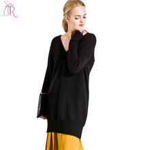 3 Colors Casual Loose Knitted Sweater Dresses Women Long Sleeve V Neck Drop Shoulder Winter New