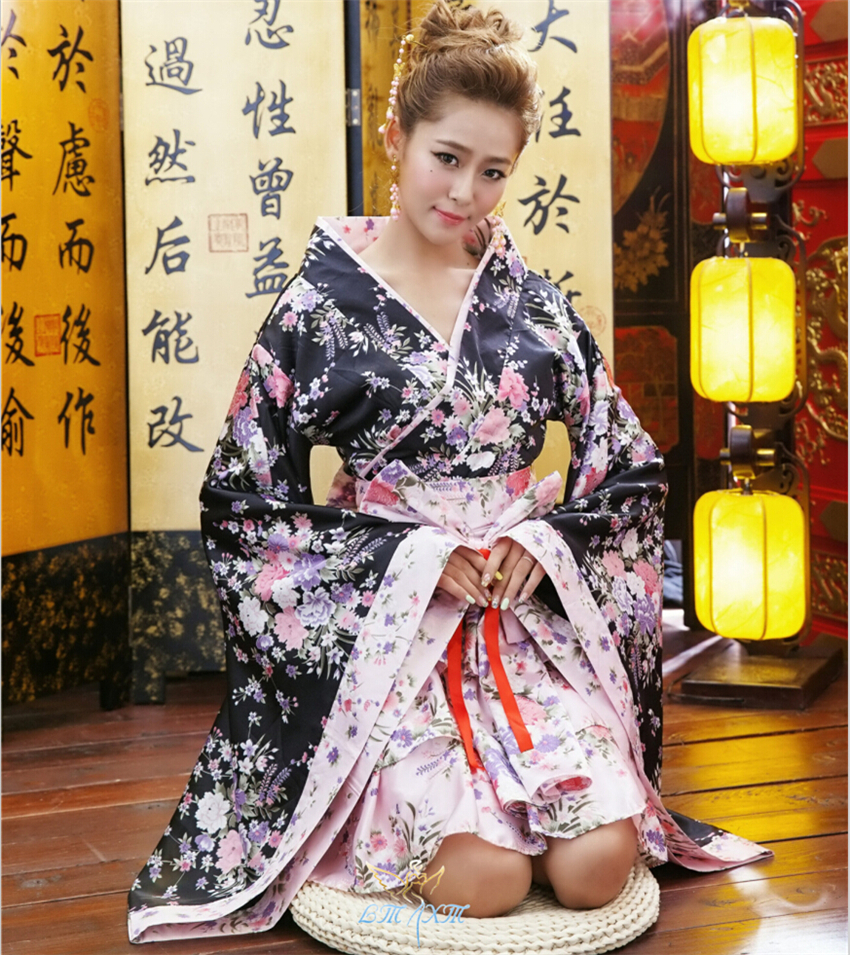 Japanese Kimono Vintage Original Tradition Silk Yukata Dress With Obi Sexy Costumes ZF051