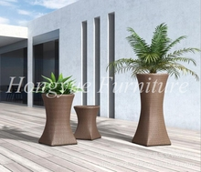 Outdoor brown three pieces rattan flower pot designs