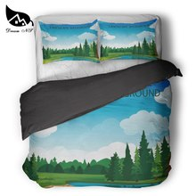 Dream NS Stick Figure Forest Lake Bedding Set King Queen Duvet Set Black Bedclothes Pillowcase Customized Home Textiles Bed Set(China)