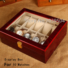 Free Shipping 10 Grids Watches Box Top Red Piano Paint MDF Storage BoxTransparent Skylight Brand Watch Storage Boxes Case W031
