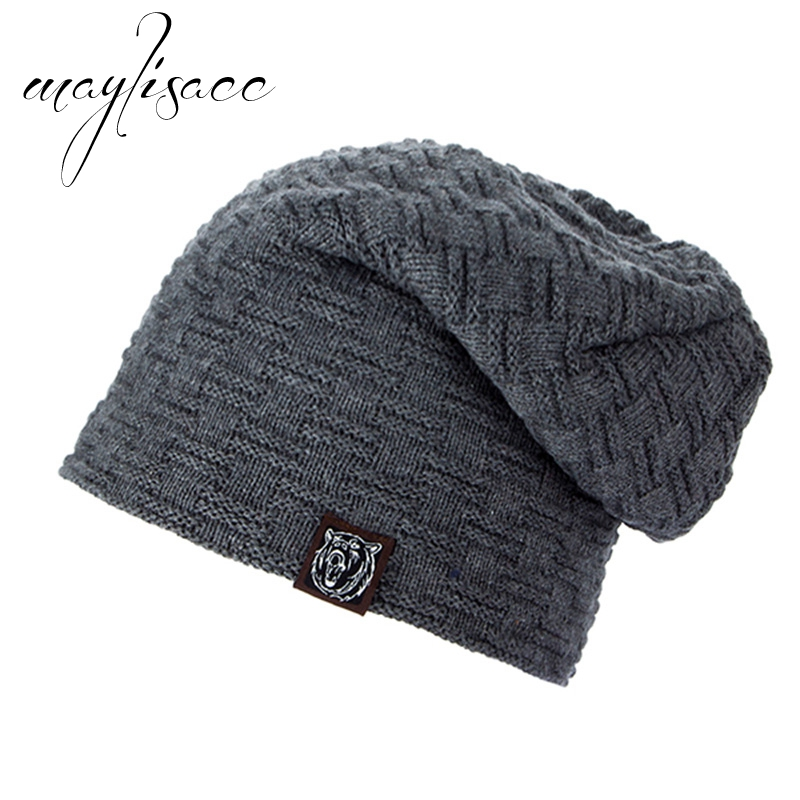 Maylisacc Solid Colors Tiger Men's Autumn Winter Warm Thicken Kintted Hat   Skullies     Beanies   Hat for Men Women Outdoor Sports Cap