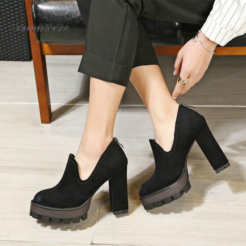 Woman Square High Heel Zipper Faux Suede High Heel Shoes Fashion Platform Dress Ladies High Heel Shoes Black Apricot rhinestone square heel mens dress shoes