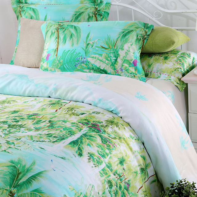 Blue Green Turquoise Bedding Sets Queen King Size Palm Tree Silk Quilt Duvet Cover Polka Dot