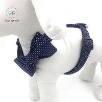 Blue Dot Dog Harness with Flower Basic Dog Leash Adjustable Metal Buckle Pet Supplies
