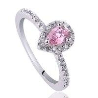 Señora real 925 plata esterlina anillo de boda 4x6mm pera forma cúbicos zirconia joyería anillo mujer R150