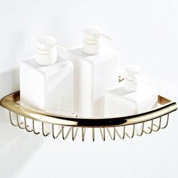 Bathroom Shelf Single Level Corner Shelves Copper Triangle Basket Soap Holder Chrome Shampoo Shelf EL0043