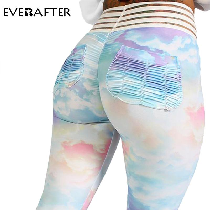 EVERAFTER 2019 New Tie Dye Leggings Women Fitness Push Up Legging High Waist Mesh Stripe Sportswear Harajuku Jeggings Hot Pants