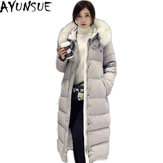 a0e666dbac3f3 AYUNSUE chaqueta de invierno Parka mujer 2019 pato blanco abajo larga  gruesa chaquetas para mujeres capucha