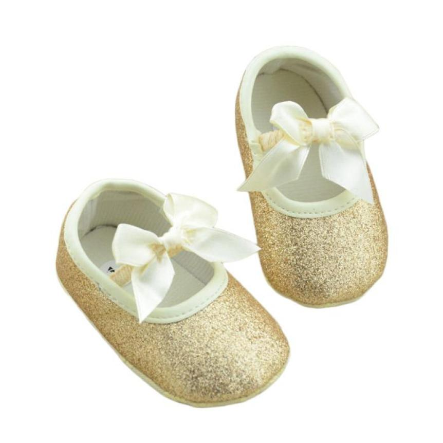 Baby Cute Shoes First Walker Toddler Kids Girls Cotton Bowknot Sequin Infant Soft Sole Shoes Bottom Bebe Shoes 17Dec27 ...