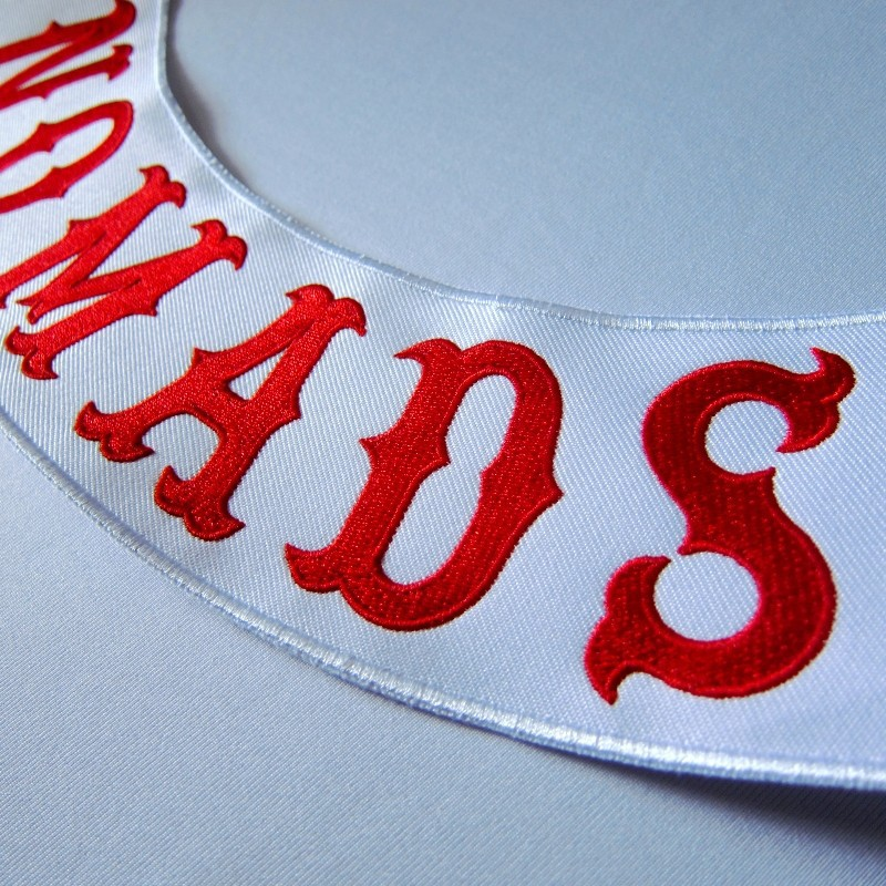 NOMADS Custom Bottom Rocker Red Font Embroidery Twill Biker