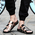 2016 New Arrival Summer Male Sandals Men Gold Leather Shoes Open Toe Sandals Slippers Fashion Casual Beach Gladiator Sandals Fla