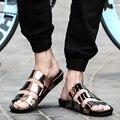 2016 Nueva Llegada Del Verano Sandalias Masculinas de Los Hombres de Oro Zapatos de Cuero Sandalias de Gladiador Sandalias de Punta Abierta Zapatillas Moda Casual Beach Fla