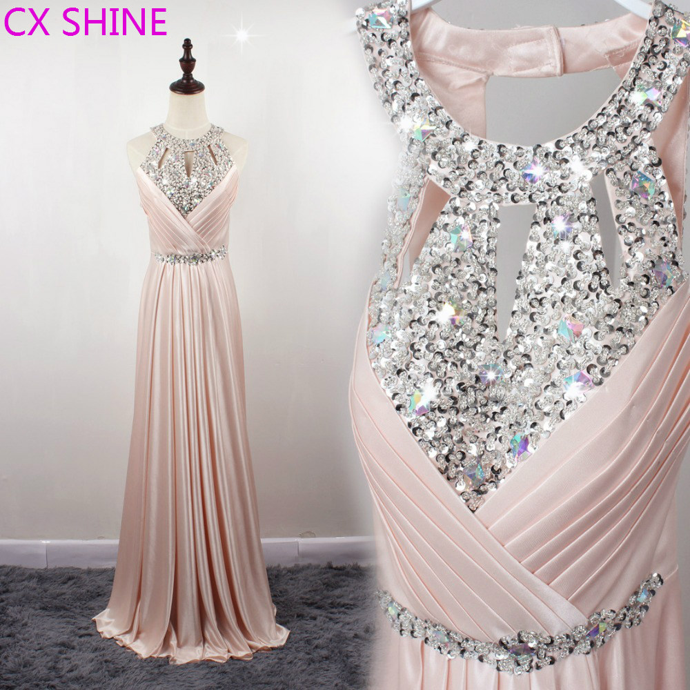 CX SHINE Custom size 11 color Fashion beaded Crystal sequins Halter evening dresses long prom party
