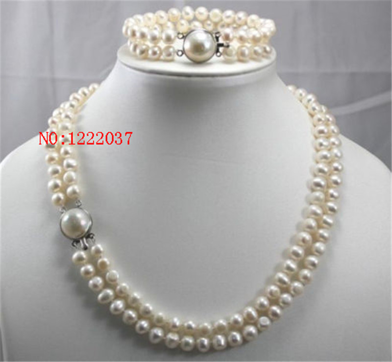 New natural 2 Row 7 8MM Freshwater Cultured pearls Necklace Bracelet Jewelry Set