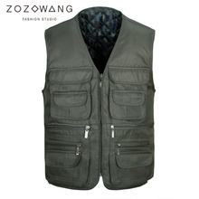 Zozowang autumn winter new plus size short casual vest men solid zipper v neck loose multi pocket high quality waistcoat