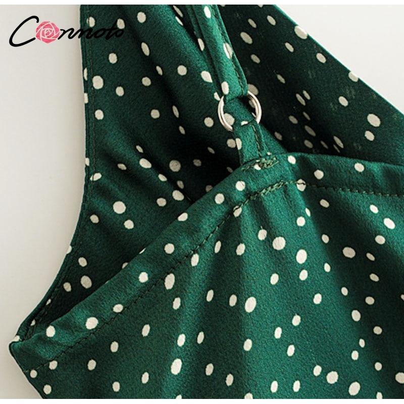 Conmoto 19 Summer Fashion Strap Backless Stain Short Dress Women Casual High Street Polka Dot Dress Beach Holiday Vestidos 13