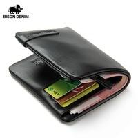 BISON DENIM Brand 100% Genuine Leather Purse For Men Male Small Soft Men's Wallet Card Holders Handmade Cowskin Wallets N4329