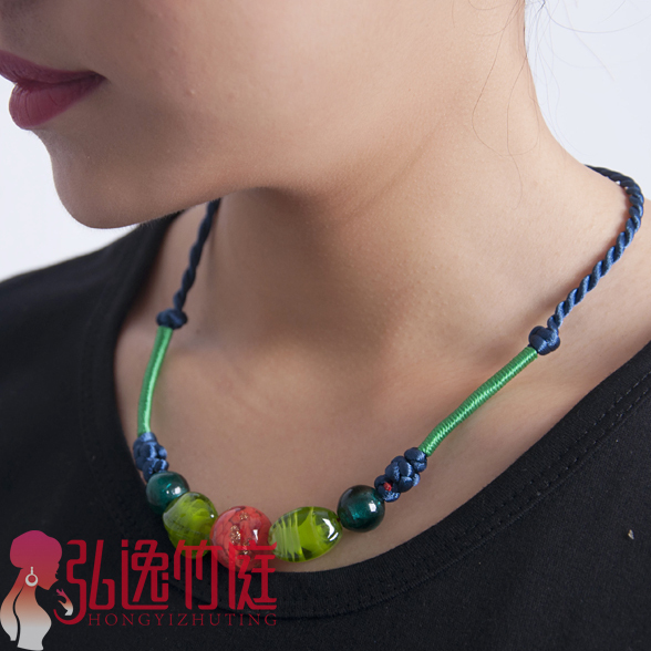 Accessories national trend royal candy color colored glaze necklace female short design card neck chain