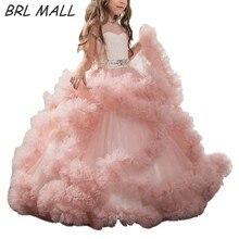 Великолепная Румяна цветок платья для девочек короткие рукава рюшами бальный наряд дети вечернее платье с поясом Первое Причастие Платья для девочек