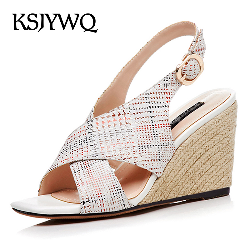 KSJYWQ Genuine Leather Women Wedge Sandals 9 CM High Heels Sexy Open-toe Woman Pumps Summer Style Buckle Shoes Box Packing 5503 ksjywq genuine leather flowers women sandals sexy exposed toe white shoes summer style clip toe shoes woman box packing a2571