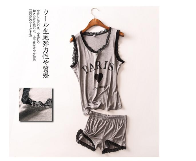 2017 Modal Summer Sleeveless Pajamas Women Casual Leisure Shorts Letter Lace 2 Piece Suit