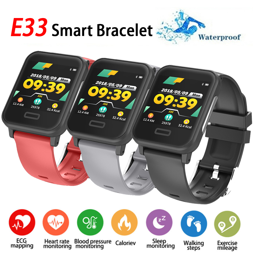 E33 Smart Bracelet Fitness Tracker Smart Band With Heart rate Blood Pressure ECG Monitor IP67 Waterproof Bluethooth Wristband-in Smart Wristbands from Consumer Electronics