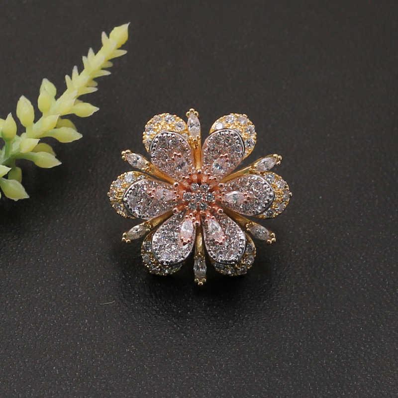 Lanyika Fashion Perhiasan Indah Bunga Klasik Micro Membuka Bros Pin untuk Keterlibatan Perjamuan Pesta Mewah Bridal Hadiah Terbaik