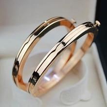 Elegante señora de lujo brazalete de la pulsera de acero inoxidable 316l titanium amarillo/rosa/oro blanco/plateado mano de las mujeres muñequera