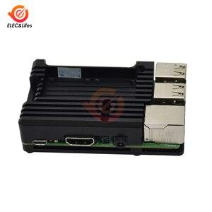 Image 4 - Siyah CNC alüminyum alaşım kılıf kabuk için ahududu Pi 4 3 Model B/B + kılıf kutusu ile çift soğutma fanı ısı emici radyatör altın/kırmızı