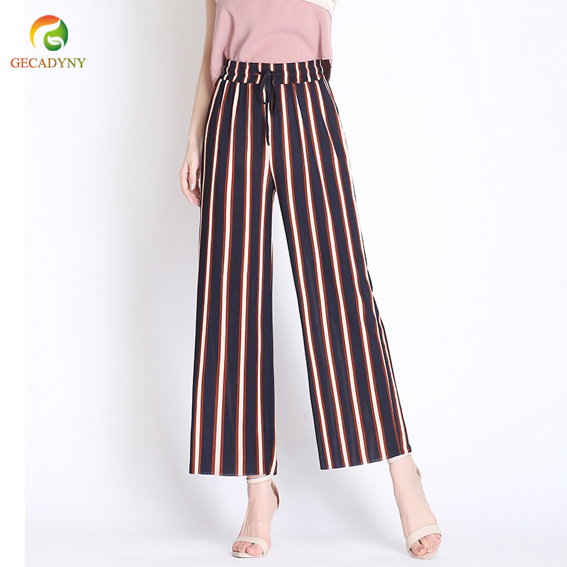 2019 Summer Striped Bohemian Style   Wide     Leg     Pants   Bow Ties Decorate Ankle Length Trousers Women Loose Casual Female   Pants   S-3XL