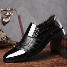REETENE Fashion Business Dress Men Shoes 2020 New Classic Leather MenS Suits Shoes Fashion Slip On Dress Shoes Men Oxfords