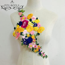 FFLACELL Modern Bunga Mawar Kerah Menjahit Di Patch Applique Lencana Bordir Bust Gaun Handmade DIY Craft Ornament Kain Stiker(China)
