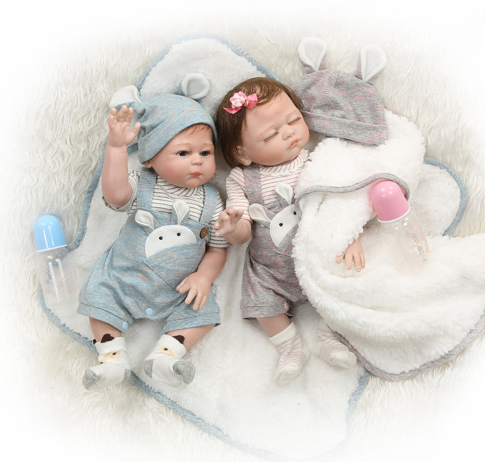 NPK 49CM full body silicone reborn baby doll twins boy and girl bebes reborn hand paint
