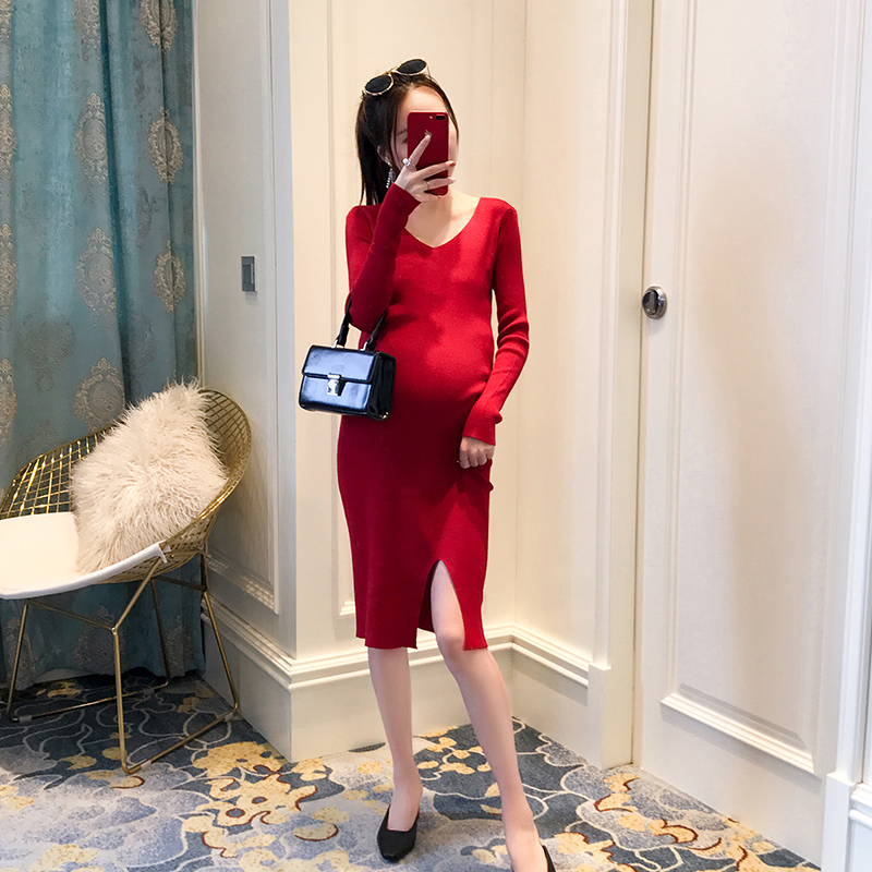 2018 summer high necked knitting maternity dress clothes for pregnant women plus cotton clothing for pregnancy