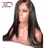 Elva Hair 150% Density Straight Full Lace Human Hair Wigs With Baby Hair Pre Plucked Brazilian Remy Hair Lace Wig Bleached Knots
