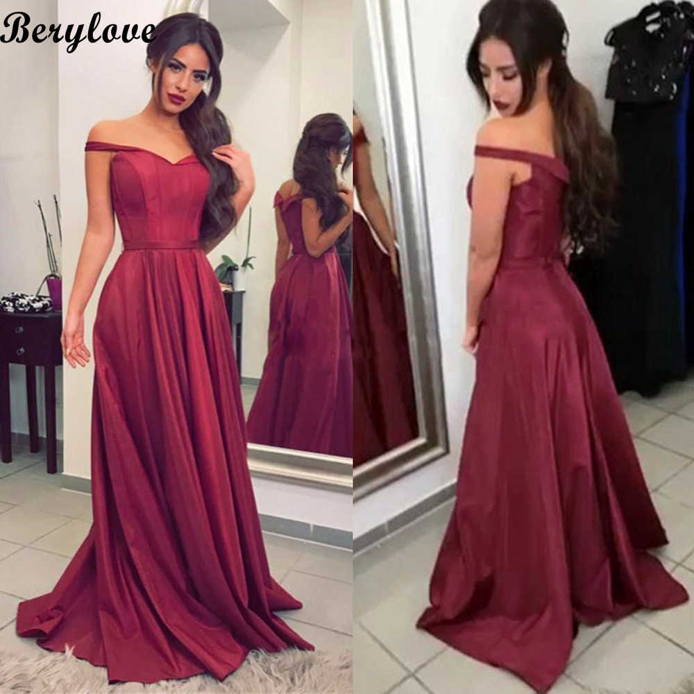fa39fcaa852a5 BeryLove Simple Burgundy Evening Dresses 2018 Long Off Shoulder Evening  Dress Plus Size Satin Formal Evening Gowns Prom Dresses