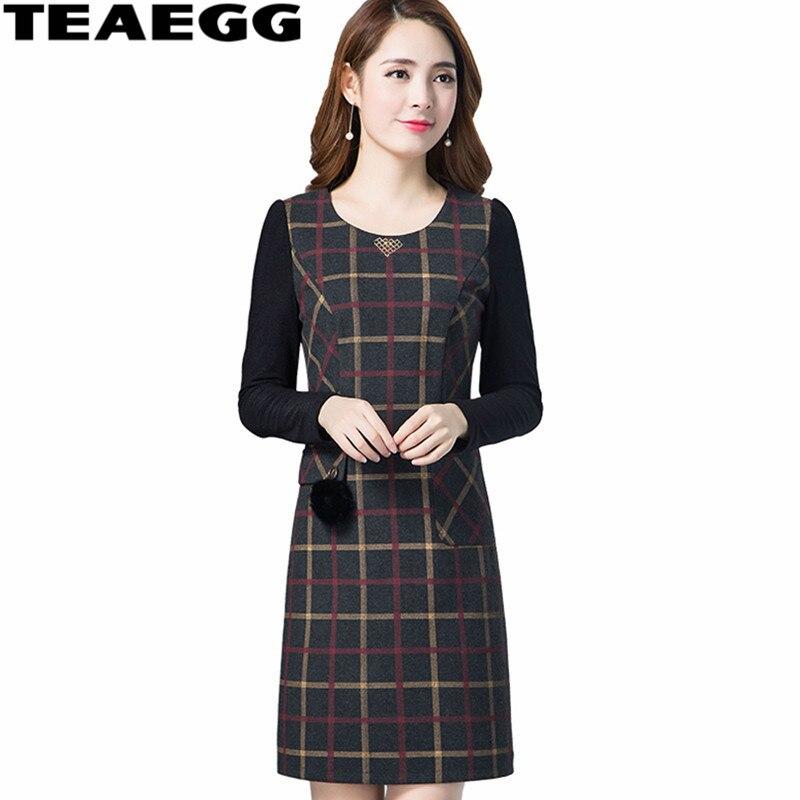 TEAEGG robe crayon noire élégante femmes vêtements 2019 o-cou automne hiver femmes robes nouveauté grande taille 3XL 4XL AL1378