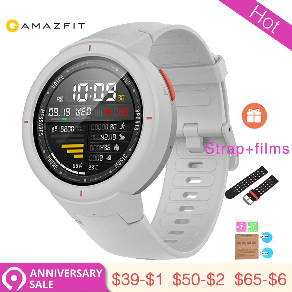 3.28 1 Anno di Garanzia Xiaomi Huami AMAZFIT Sull'orlo Astuto Della Vigilanza 3 GPS + Glonass HR IP68 Impermeabile 390 mAh Multi -sport Smartwatch regalo