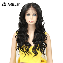 Noble Hair Lace Front Wig 24 inch Long wavy Black african american Synthetic Wigs For Women Heat Resistant  Free Ship