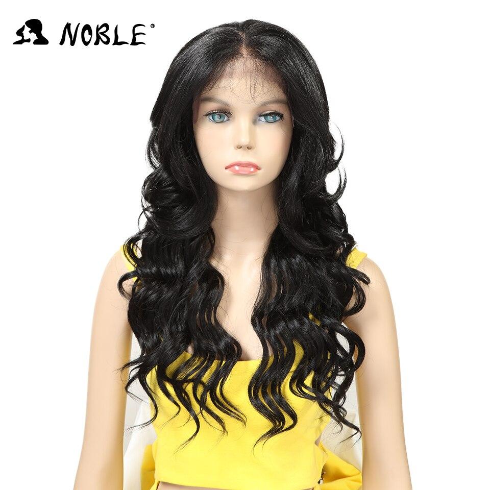 Perruque avant dentelle cheveux nobles 24 pouces Long ondulé noir afro-américain perruques synthétiques pour femmes résistant à la chaleur livraison gratuite