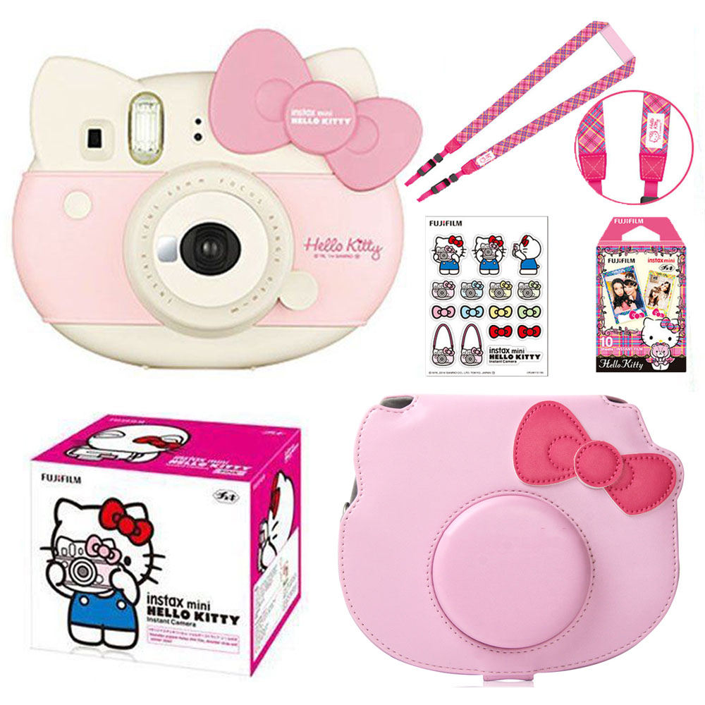 Fujifilm Instax Mini Pink Hello Kitty Limited Edition Instant Photo Film Camera 10 Instax Films PU