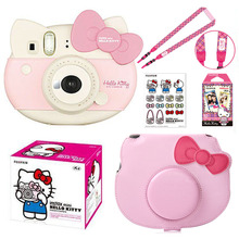 Fujifilm Instax Mini Pembe Hello Kitty Sınırlı Sayıda Anında Fotoğraf Filmi Kamera + 10 Instax Filmler + PU kamera çantası Durumda + Sticker