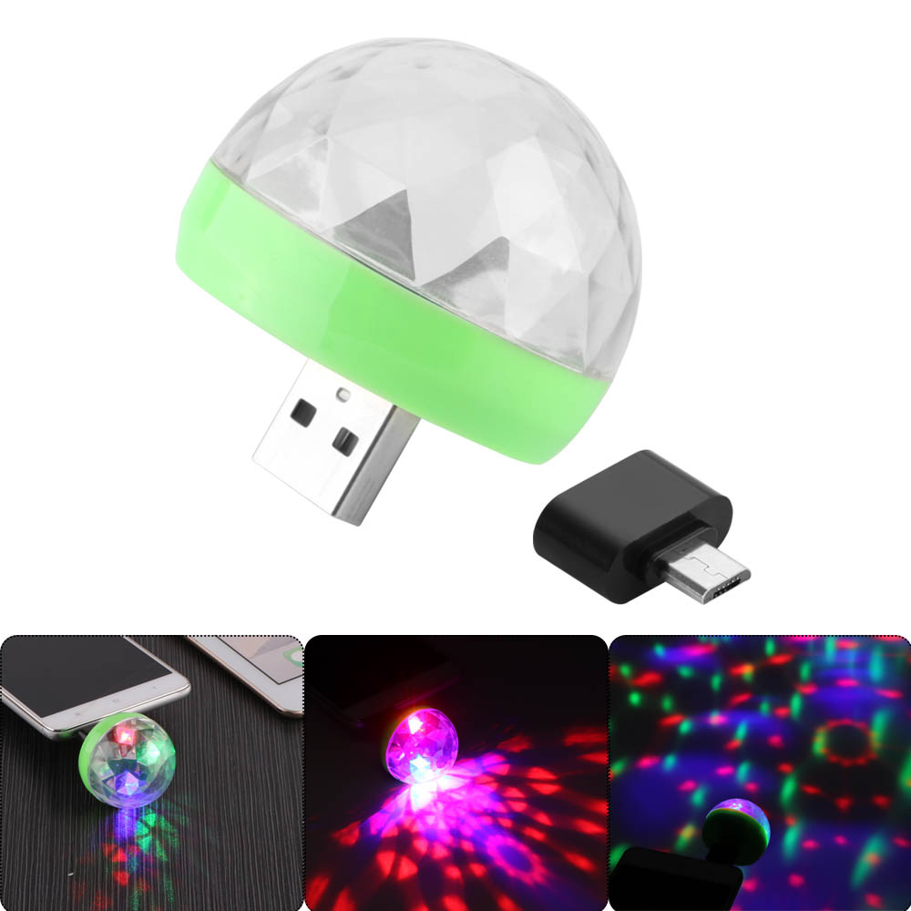 Mini USB led Party Lights Portable Crystal Magic Ball Home Party ...